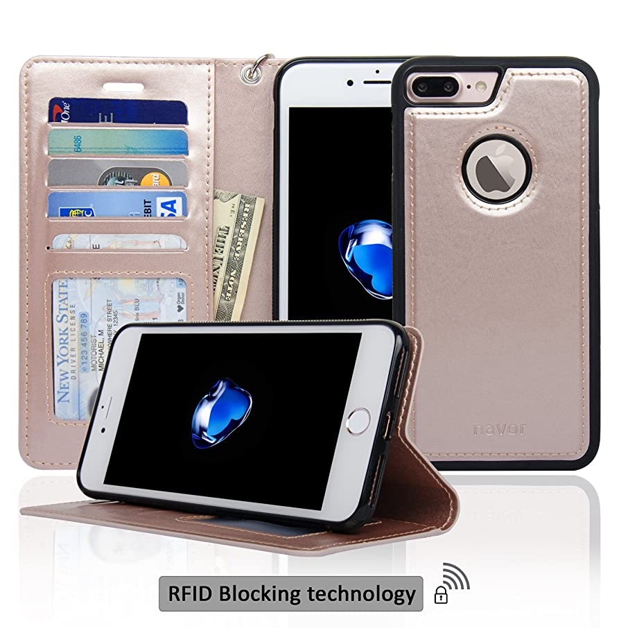 Navor Auto Align Detachable Magnetic Wallet Case Compatible for iPhone 7 Plus [RFID Theft Protection] JOOT-1L Series -Rose Gold (IP7P1LRG)