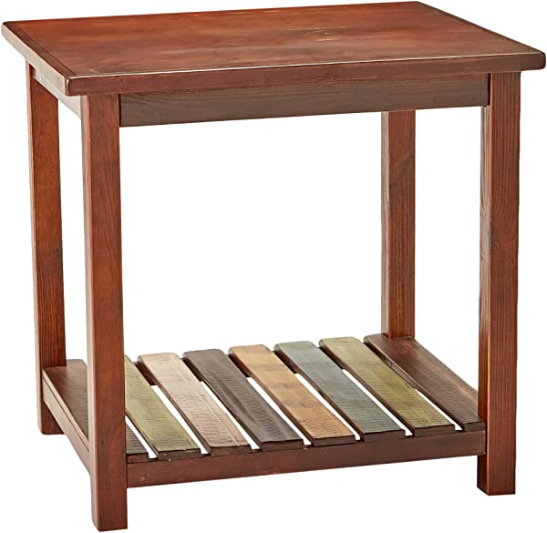 Mestler Rustic Chairside End Table Brown With Multi Colors Ashley Furniture