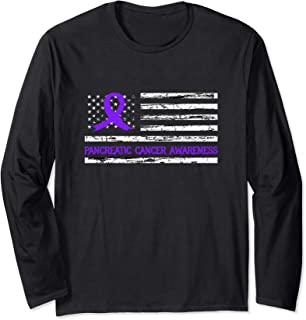 Purple Ribbon Pancreatic Cancer Awareness Month USA Flag Long Sleeve T-Shirt