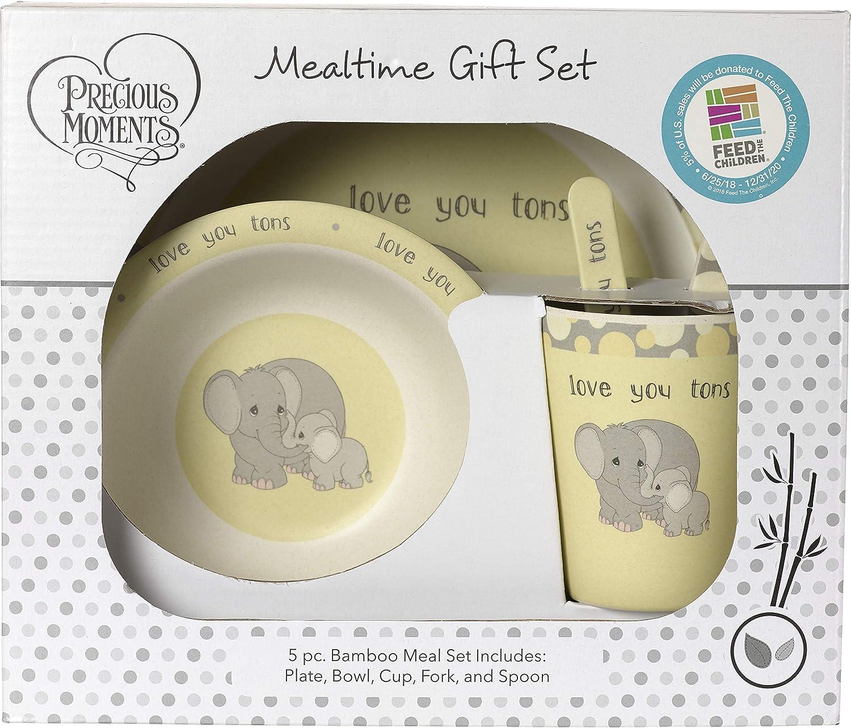 Precious Moments 5 Elephant Gift Mealtime Feeding Set, One Size, Multi