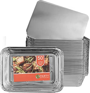 Party Bargains Aluminum Oblong Foil Pan Containers and Board Lids Set, 2.25 lb Capacity, 8.4inch x 5.9inch. (50 WITH LIDS)