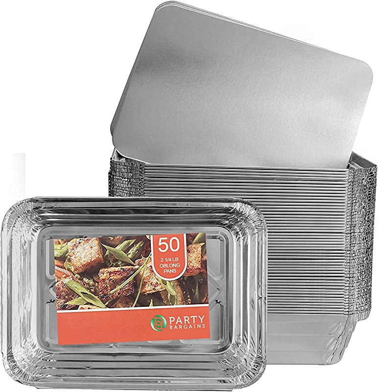 Party Bargains Aluminum Oblong Foil Pan Containers And Board Lids Set 2 25 Lb Capacity 8 4inch X 5 9inch 50 WITH LIDS