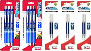 Pentel EnerGel Deluxe RTX Retractable Liquid Gel Pen, 0.5mm, Needle Tip, Blue Ink, 6 Pack (BLN75BP3C) with Refill Ink 6 EA