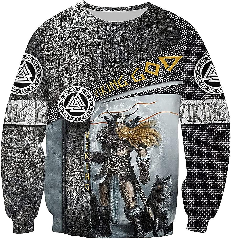 Men's Viking God Odin Sweatshirt, Nordic Warrior Long Sleeve Hoodie Casual Pullover Cosplay Jacket