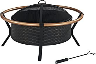 Crosley Furniture Yuma Outdoor Fire Pit with  Oversized Bowl and Copper Ring - Black and Copper