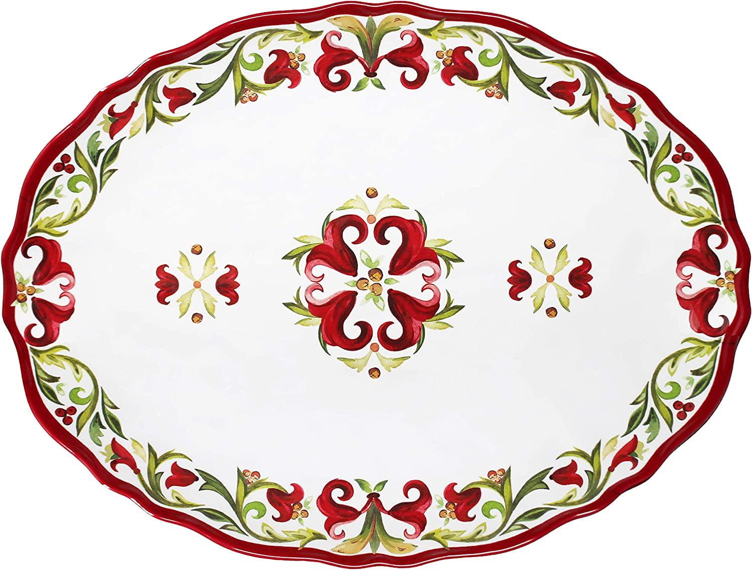 Le Cadeaux Vischio 至高 Holiday Collection inch 買い物 Melamine 16 Plat Oval