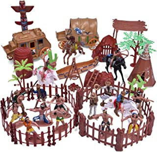 FunLittleToy 61 PCs Wild West Cowboys and Indians Plastic Figures, Toy Soldiers for Kids, Boy's War Game Educational Toys