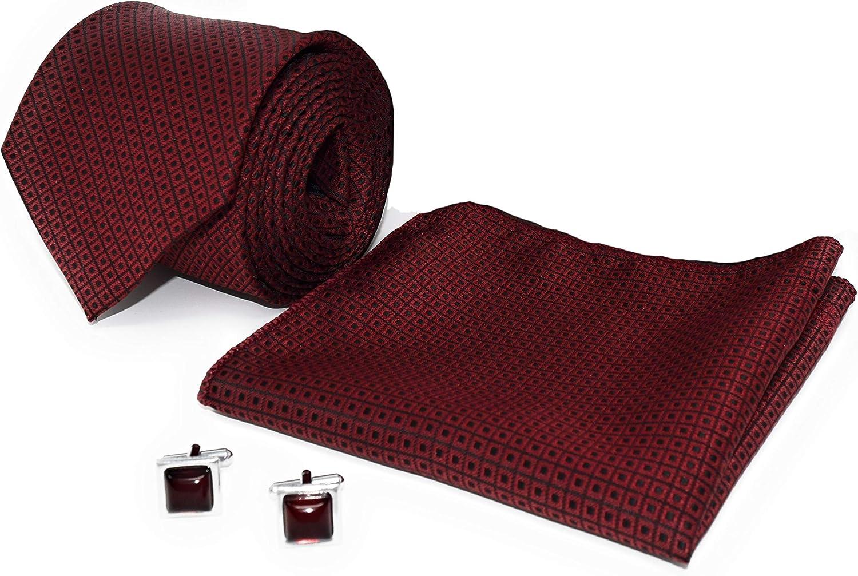 KANTH LANGOT Jacquard Tie Pocket Square & Cufflinks Set