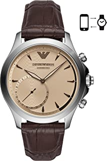 Emporio Armani Brown Stainless Steel & Leather Hybrid Smartwatch ART3014