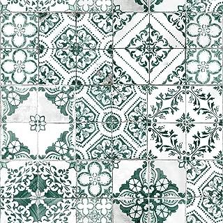 RoomMates Teal Mediterranean Tile Peel and Stick Wallpaper
