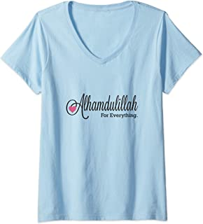 Womens Alhamdulillah For Everytinhg Thank God in Arabic V-Neck T-Shirt