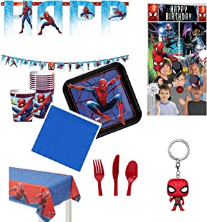 Party pack bundle for your Spiderman fan. Includes special keychain for the birthday boy or girl!