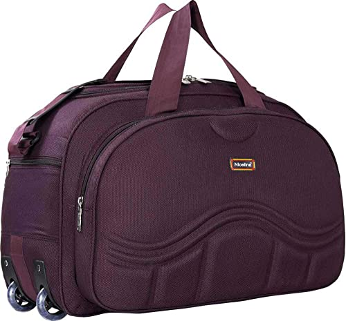 Stylish 40 Liters Purple Travel Duffel Bag with Roller Wheels for Men and Women