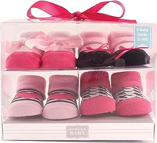 Hudson - Calcetines para bebé (4 unidades), diseño de búho rosa
