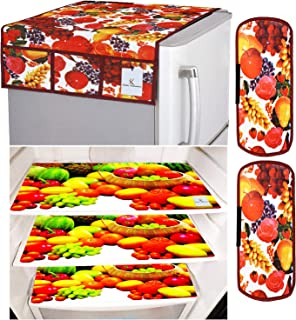 Kuber Industries Fruits Design 3 Pieces PVC Fridge Mats,2 Piece Handle Cover and 1 Piece Fridge Top Cover (Red & White) CT...