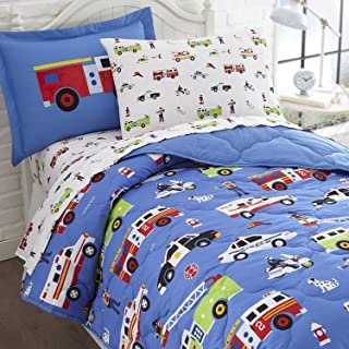 Wildkin Kids 5 Pc Twin Bed in A Bag for Boys and Girls, Microfiber Bedding Set Includes Comforter, Flat Sheet, Fitted Shee...