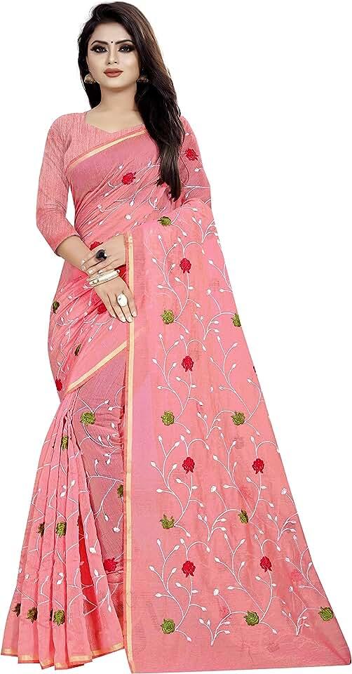 Indian SilverStar Women's Chanderi Cotton Saree With Blouse Piece (SSS1756_Pink) Saree