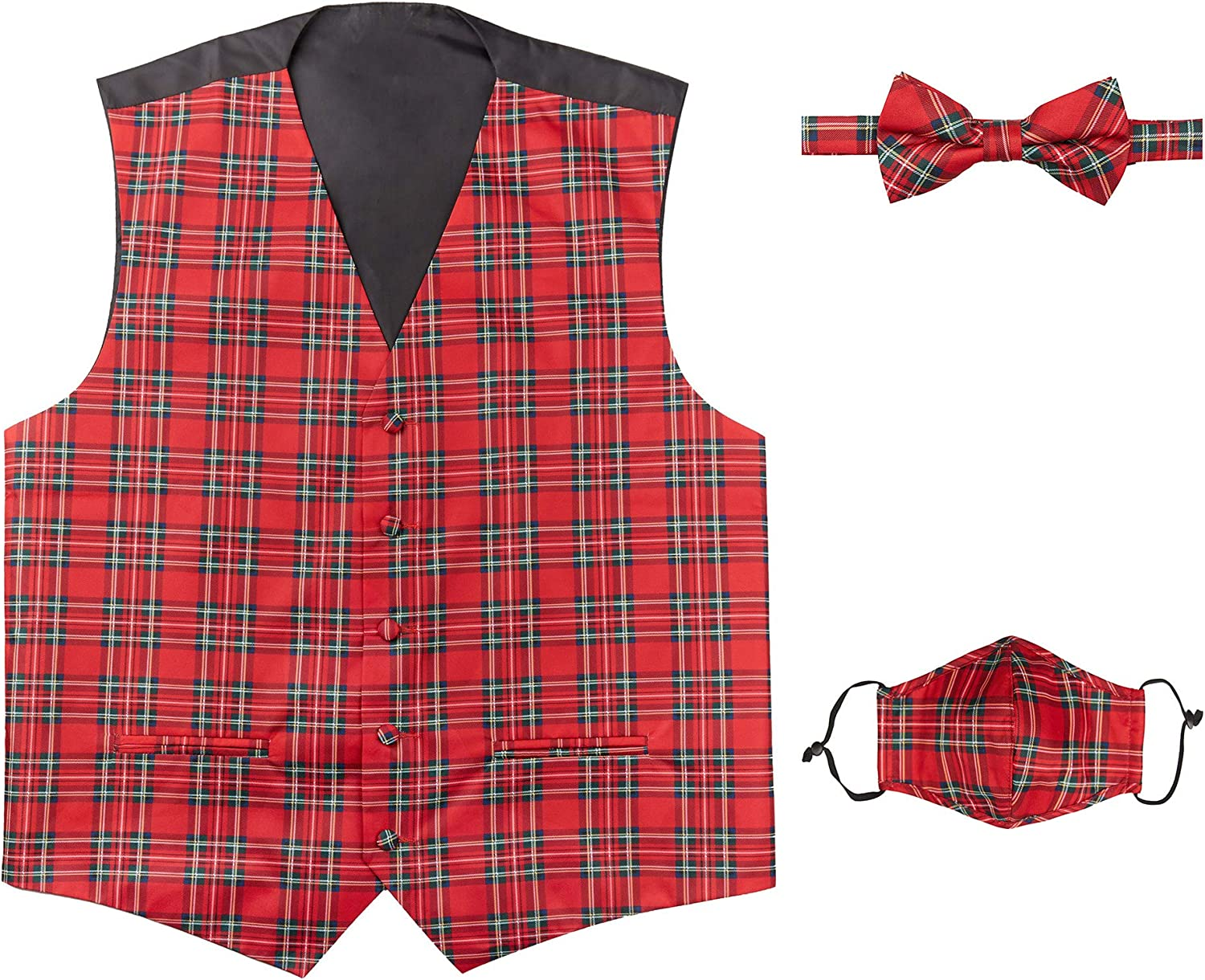 Jacob Alexander Max 46% OFF Red Ranking TOP2 Christmas Plaid Banded Pre-Tied Vest B Men's