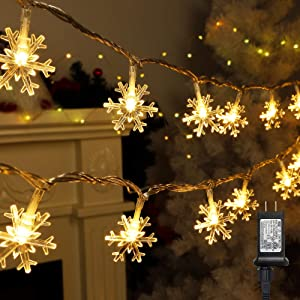 Twinkle Star 100 LED Christmas Snowflake String Lights, 49 FT Plug in Fairy Light Waterproof, Extendable for Indoor Outdoor Holiday Wedding Party, Xmas Tree, New Year, Garden Decorations, Warm White