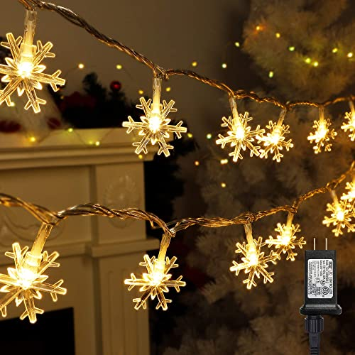 new arrival Twinkle Star 100 LED Christmas Snowflake String Lights, 49 FT Plug in Fairy Light Waterproof, Extendable for Indoor Outdoor Holiday Wedding online Party, outlet sale Xmas Tree, New Year, Garden Decorations, Warm White outlet sale