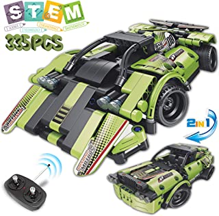 STEM Building Toys for Kids 2 in 1 Remote Control Car Racer Snap Together Engineering Kit Early Learning RC Race Car and Off-Road Building Blocks Best Gifts for Boys and Girls Age 6,7,8,9 Years Old