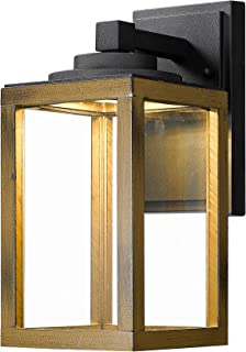 Zeyu Exterior Led Wall Lantern, 10W Outdoor Wall Sconce Lighting with Clear Glass Shade in Black Finish and Wood Grain, Z1953 BW