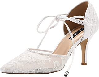 02bac4ab39d ERIJUNOR Ivory Lace Mesh Satin Bridal Wedding Shoes for Women Comfortable  Mid Heel Tie Up Ankle