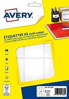 AVERY - Etui de 96 étiquettes autocollantes, Format 80 x 45 mm,