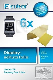 Ecultor I 6x skyddsfolie klar lämplig för Samsung Gear 2 Neo folie displayskyddsfolie
