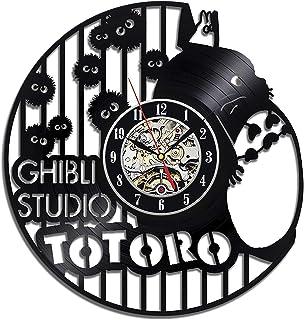 Meet Beauty Ding Ghibli Studio Anime Tema de Disney Reloj de Pared Creativo Discos de Vinilo Movimiento de Cuarzo Silencioso Hecho a mano-30CM Ronda Negro Increíble