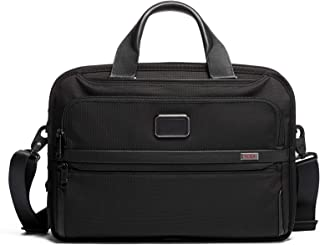 Alpha 3 Triple Compartment Brief Briefcase - 15 Inch Computer Bag for Men and Women - Black
