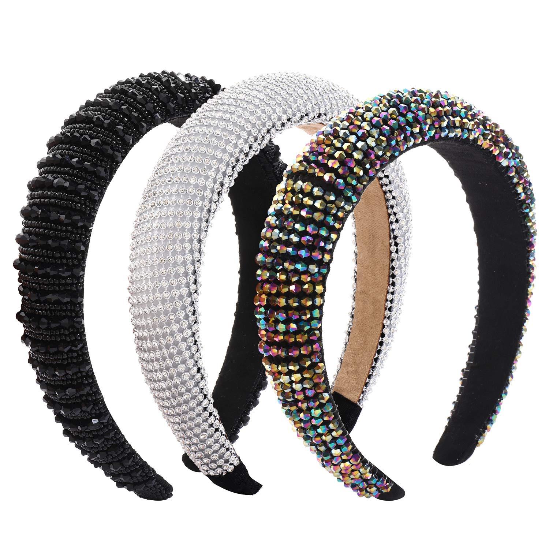 Rhinestone Padded Headbands 1 year warranty For Woman Wide Beaded Max 43% OFF Velvet Hairban
