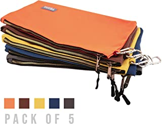 Canvas Tool Pouch Zipper Bag, Utility Bag with Heavy Duty Metal Zipper Pouch with Carabiner, Durable Storage Organizer Clip on Tote Bag, Zipper Tool Bags - Orange, Yellow, Gray, Blue & Brown – 16 Oz