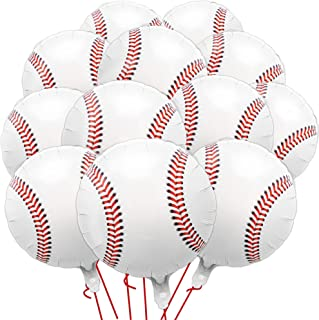 12Pcs 18 inches Baseball Balloons Foil Mylar Baseball Balloons for Birthday Party Sports Themed Party Baby Shower Decor Su...