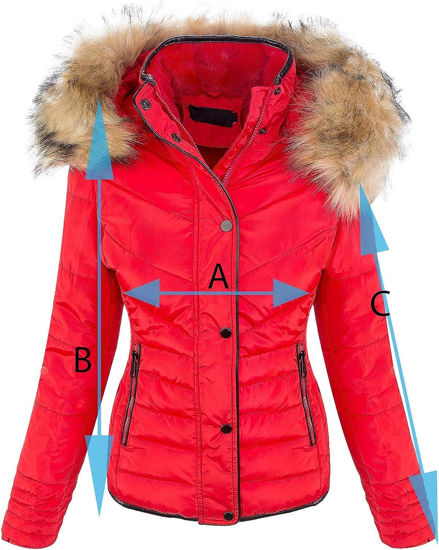 Rock Creek Designer Damen Winter Jacke Steppjacke Kunstfell D-405 Rosa