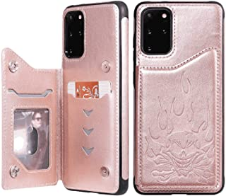 LindaCase PU Leather Flip Cover Compatible with Samsung Galaxy S20 Plus, Rose Gold Kickstand Card Holders Luxury Wallet Ca...