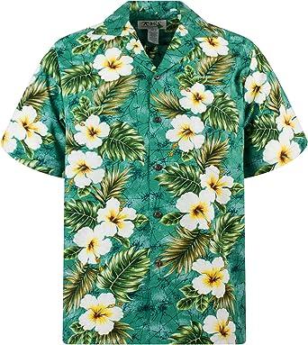KYs | Original Camisa Hawaiana | Caballeros | S - 4XL | Manga Corta | Bolsillo Delantero | Estampado Hawaiano | Flores | Verde
