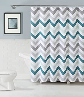 BMALL Fabric Shower Curtain: Chevron Design (Aqua Gray And White) Shower Rings Included 72X72 inches
