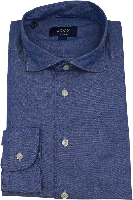 Eton Men's Blue Contemporary Fit Dress Shirt - 38-15 (S)