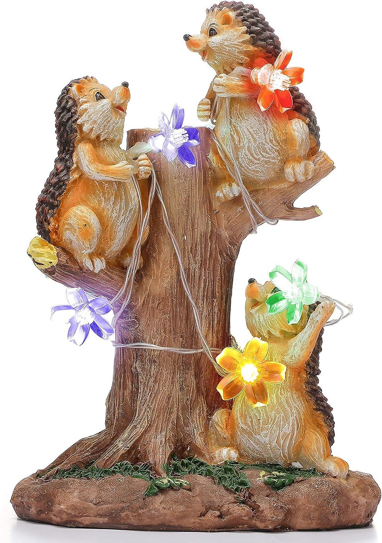 Garden Hedgehog Statue Resin Hedgehog with 6 Pieces Cherry Blossom Solar Lights Led Lights Outdoor Garden Waterproof Figurine Decor for Patio, Lawn, Yard, Garden Housewarming Ornament