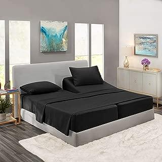 Nestl Bedding 5 Piece Sheet Set - 1800 Deep Pocket Bed Sheet Set - Hotel Luxury Double Brushed Microfiber Sheets - Deep Pocket Fitted Sheet, Flat Sheet, Pillow Cases, Split Cal King - Black