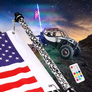 3ft Spiral LED Whip Lights w//Flag Lighted Antenna Whips Accessories for ATV Polaris RZR 4 Wheeler Wireless Remote 21 Modes 20 Colors Weatherproof