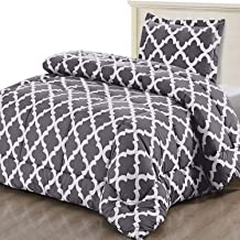 Utopia Bedding Printed Comforter Set (Twin, Grey) with 1 Pillow Sham - Luxurious Brushed Microfiber - Goose Down Alternative Comforter - Soft and Comfortable - Machine Washable