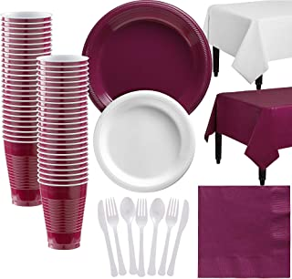 Party City White and Berry Plastic Tableware Party Supplies for 50 Guests, 487 Pieces, Includes Plates, Napkins, and Table...