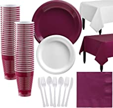 Party City White and Berry Plastic Tableware Kit for 50 Guests, 487 Pieces, Includes Plates, Napkins, and Table Covers