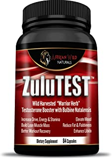 ZuluTEST, Natural Testosterone Booster for Men and Women with Bulbine Natalensis, Best Extra-Strength Organic Herbal Supplement To Increase Energy, Libido, Stamina and Fat Loss, 84 Veggie Capsules