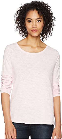 Soft Slub Long Sleeve Tee with Tiered Back