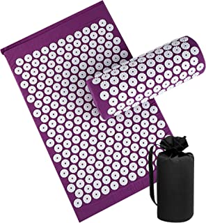 Acupressure Mat and Pillow Set for Back/Neck Pain Relief, Massage Cushion for Muscle Relaxation (Purple)