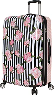26 Inch Checked Luggage Collection - Expandable Scratch Resistant (ABS + PC) Hardside Suitcase - Designer Lightweight Bag with 8-Rolling Spinner Wheels (Stripe Roses)