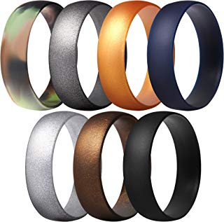 ThunderFit Silicone Rings, 7 Rings / 1 Ring Wedding Bands for Men & Women 6mm Wide